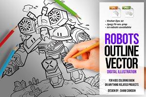 Robots Outline Vector Illustration