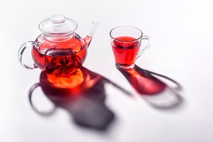 glass teapot and glass transparent c