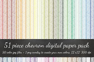 51 Piece Chevron Lines Digital Paper