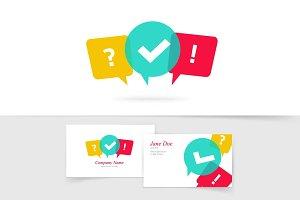 Quiz Discuss Poll Chat Vector Logo