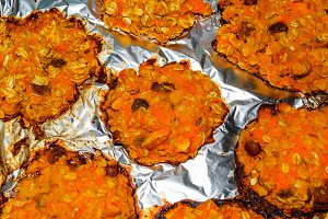 Baked in foil cakes from pumpkin and