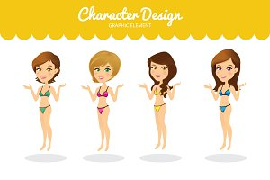 Girl Character Vector Element