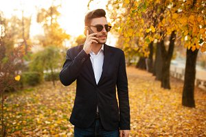 Handsome young stylish male business