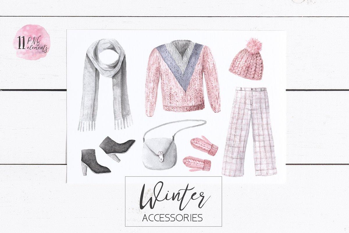 7c24148d Watercolor Winter Clothes Set ~ Illustrations ~ Creative Market