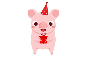Cute party pig holding gift box