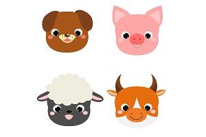 Cute animals faces Farm animals icon