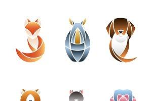 Set of cute animal design vectors