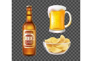 Beer in Bottle or Mug and Chips in
