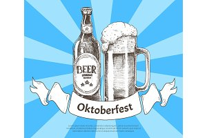 Oktoberfets Banner with Beer Bottle