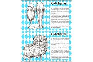 Oktoberfest Posters Set Keg of Beer