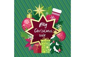 Big Christmas Sale Vector Flat Style