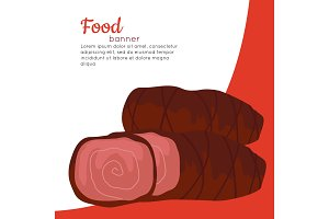 Food Banner. Grilled Delicious Meat