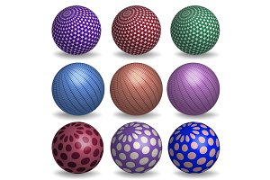 Abstract 3d spheres set.
