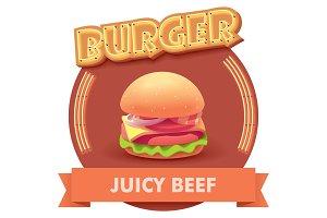 Vector burger illustration or label