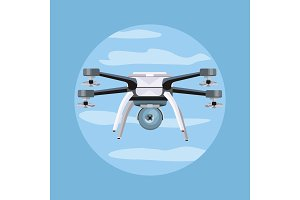 Flying Drone Vector Illustration in