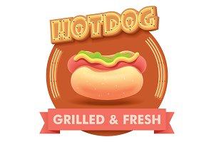 Vector hot dog illustration or label