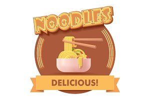 Vector Chinese noodles icon or label