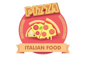 Vector pizza illustration or label