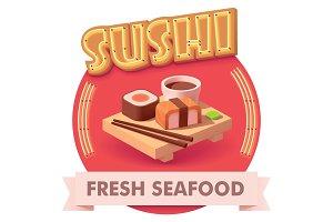 Vector sushi illustration or label