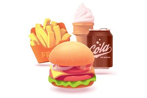 Vector burger set illustration