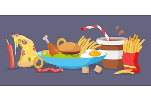 Set of Fast Food Products Vector in