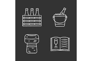Alcohol chalk icons set