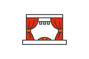 Theater stage color icon