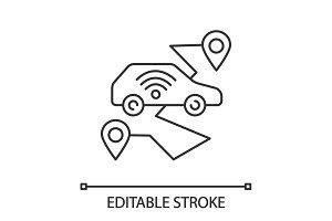 Self driving car linear icon