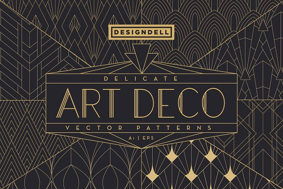 Delicate Art Deco Vector Patterns Graphic Patterns Creative Market
