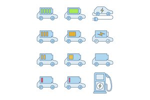 Electric car battery color icons set