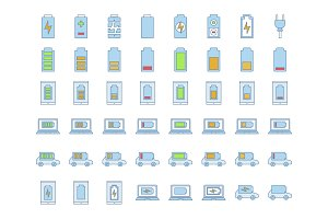 Battery charging color icons set