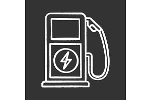 Electric charging station chalk icon