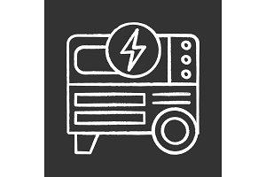 Portable power generator chalk icon