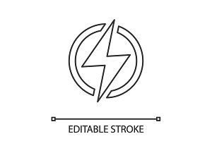 Electric power sign linear icon