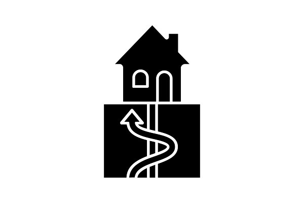 Geothermal energy glyph icon