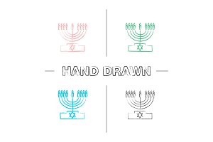 Menorah hand drawn icons set