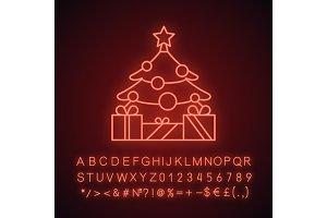 New Year tree neon light icon