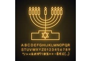 Menorah neon light icon