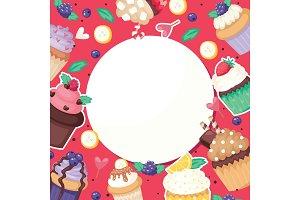 Cupcake poster pattern cute cake