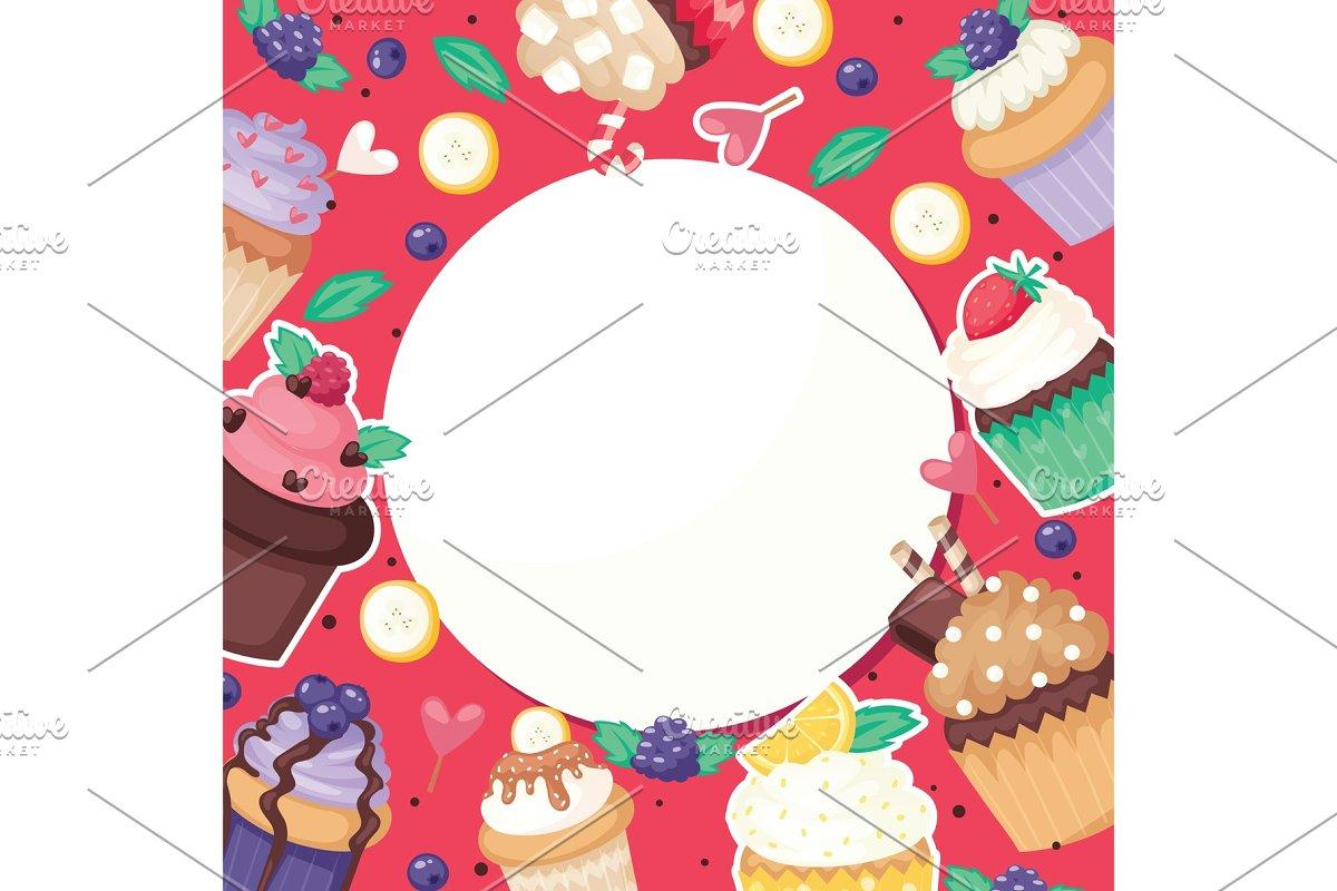 6fb53be5e58e Cupcake poster pattern cute cake ~ Illustrations ~ Creative Market