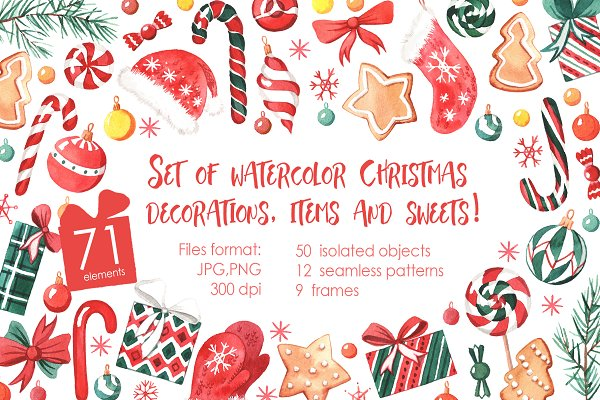 Watercolor Christmas decorations!