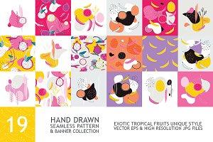 19 Fruit seamless pattern banner set