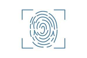 Fingerprint scanning color icon