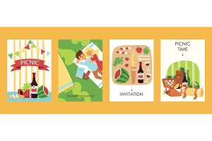 Outdoor picnoc time invitation cards