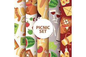 Cartoon basket picnic with food