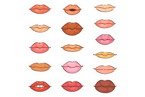 Lip kiss vector cartoon smile and