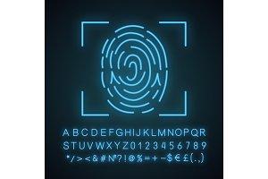 Fingerprint scanning neon light icon
