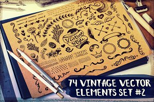 74 vintage vector elements set #2