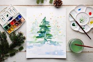 Painting a DIY Christmas card