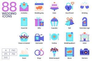 88 Wedding Flat Icons